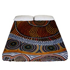 Aboriginal Traditional Pattern Fitted Sheet (queen Size)