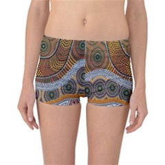 Aboriginal Traditional Pattern Reversible Boyleg Bikini Bottoms