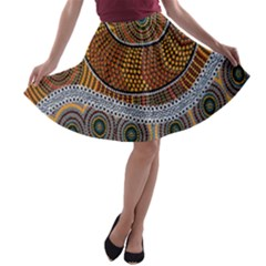 Aboriginal Traditional Pattern A Line Skater Skirt