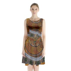 Aboriginal Traditional Pattern Sleeveless Waist Tie Chiffon Dress