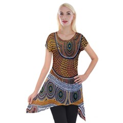 Aboriginal Traditional Pattern Short Sleeve Side Drop Tunic