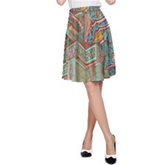Traditional Korean Painted Paterns A Line Skirt