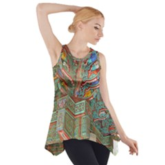 Traditional Korean Painted Paterns Side Drop Tank Tunic