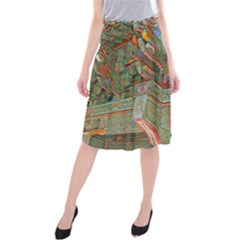 Traditional Korean Painted Paterns Midi Beach Skirt