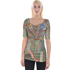 Traditional Korean Painted Paterns Wide Neckline Tee