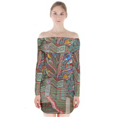 Traditional Korean Painted Paterns Long Sleeve Off Shoulder Dress