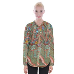 Traditional Korean Painted Paterns Womens Long Sleeve Shirt