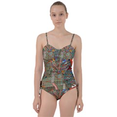 Traditional Korean Painted Paterns Sweetheart Tankini Set