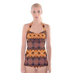 Traditiona  Patterns And African Patterns Boyleg Halter Swimsuit