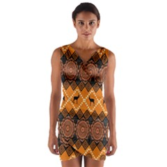 Traditiona  Patterns And African Patterns Wrap Front Bodycon Dress