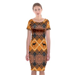 Traditiona  Patterns And African Patterns Classic Short Sleeve Midi Dress