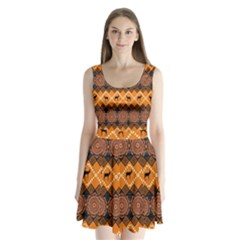 Traditiona  Patterns And African Patterns Split Back Mini Dress