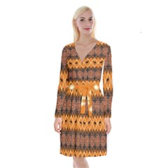 Traditiona  Patterns And African Patterns Long Sleeve Velvet Front Wrap Dress
