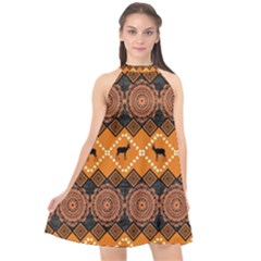 Traditiona  Patterns And African Patterns Halter Neckline Chiffon Dress