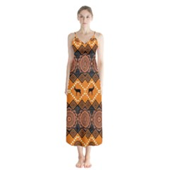 Traditiona  Patterns And African Patterns Button Up Chiffon Maxi Dress