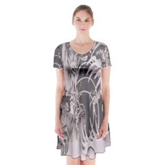 Chinese Dragon Tattoo Short Sleeve V Neck Flare Dress