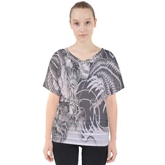 Chinese Dragon Tattoo V Neck Dolman Drape Top