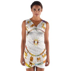 Zodiac  Institute Of Vedic Astrology Wrap Front Bodycon Dress