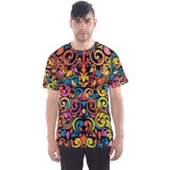 Art Traditional Pattern Men s Sports Mesh Tee