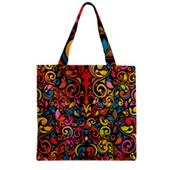 Art Traditional Pattern Zipper Grocery Tote Bag