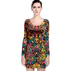 Art Traditional Pattern Long Sleeve Velvet Bodycon Dress