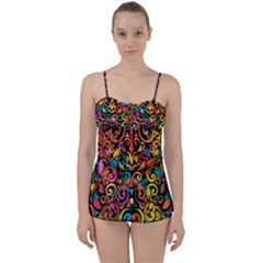 Art Traditional Pattern Babydoll Tankini Set