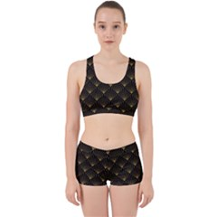 Abstract Stripes Pattern Work It Out Sports Bra Set