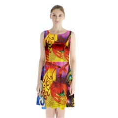 Chinese Zodiac Signs Sleeveless Waist Tie Chiffon Dress