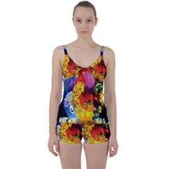 Chinese Zodiac Signs Tie Front Two Piece Tankini