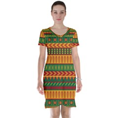 Mexican Pattern Short Sleeve Nightdress