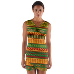 Mexican Pattern Wrap Front Bodycon Dress
