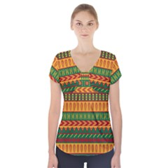 Mexican Pattern Short Sleeve Front Detail Top