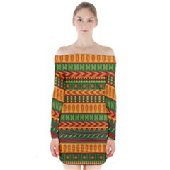 Mexican Pattern Long Sleeve Off Shoulder Dress