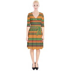 Mexican Pattern Wrap Up Cocktail Dress