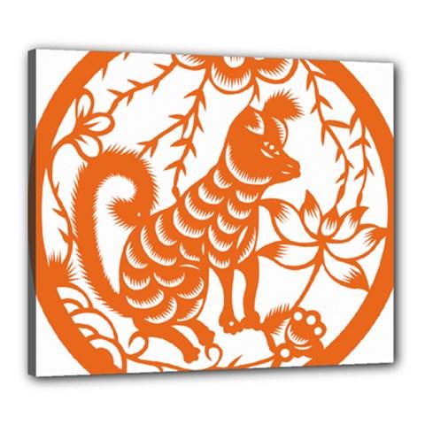 Chinese Zodiac Dog Canvas 24  X 20