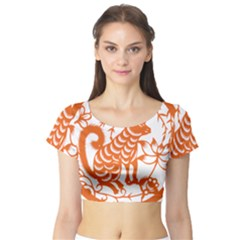 Chinese Zodiac Dog Short Sleeve Crop Top (tight Fit)