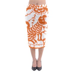 Chinese Zodiac Dog Midi Pencil Skirt