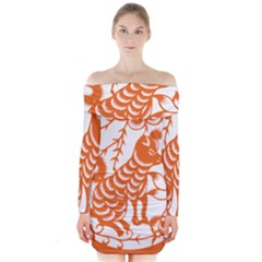 Chinese Zodiac Dog Long Sleeve Off Shoulder Dress