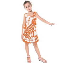 Chinese Zodiac Dog Kids  Sleeveless Dress