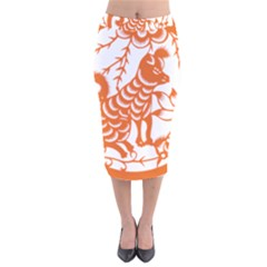 Chinese Zodiac Dog Velvet Midi Pencil Skirt