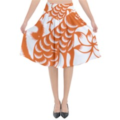 Chinese Zodiac Dog Flared Midi Skirt