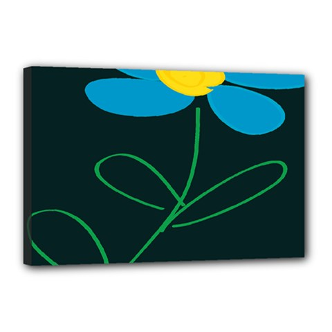 Whimsical Blue Flower Green Sexy Canvas 18  X 12