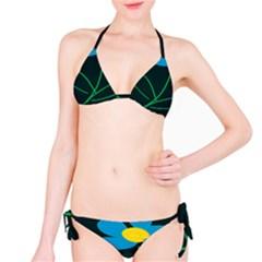 Whimsical Blue Flower Green Sexy Bikini Set