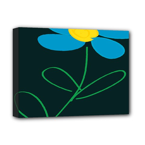 Whimsical Blue Flower Green Sexy Deluxe Canvas 16  X 12