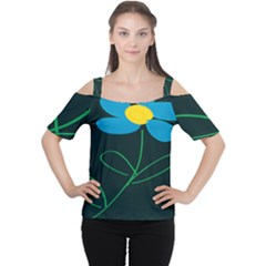 Whimsical Blue Flower Green Sexy Cutout Shoulder Tee