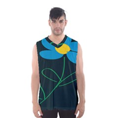 Whimsical Blue Flower Green Sexy Men s Basketball Tank Top