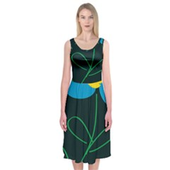Whimsical Blue Flower Green Sexy Midi Sleeveless Dress