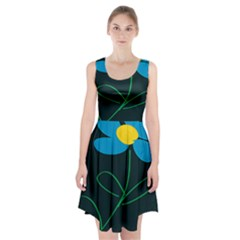 Whimsical Blue Flower Green Sexy Racerback Midi Dress
