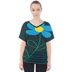 Whimsical Blue Flower Green Sexy V Neck Dolman Drape Top