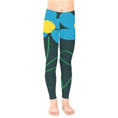 Whimsical Blue Flower Green Sexy Kids  Legging